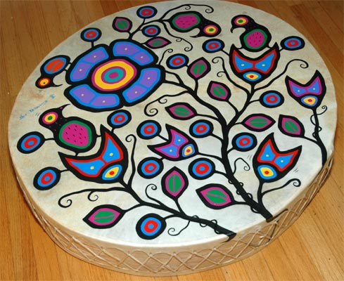 Ojibwa Art Design http://www.redkettle.com/products/native-art-canada/debassige-drum2.htm