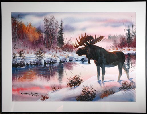 Winter Moose by Don Ningewance - Woodlands Art Original - Red ...